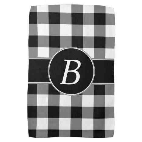 Black And White Gingham Monogram Kitchen Towel Zazzle Com In 2019 Kitchen Towels Gingham Towel