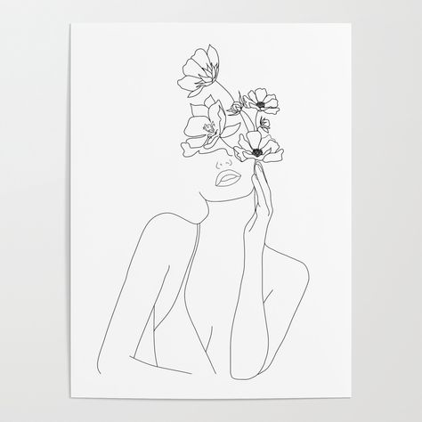 Minimal Line Art Woman With Flowers Poster by nadja1