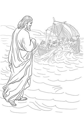 Jesus Walking On The Water Coloring Page Coloring Pages Jesus