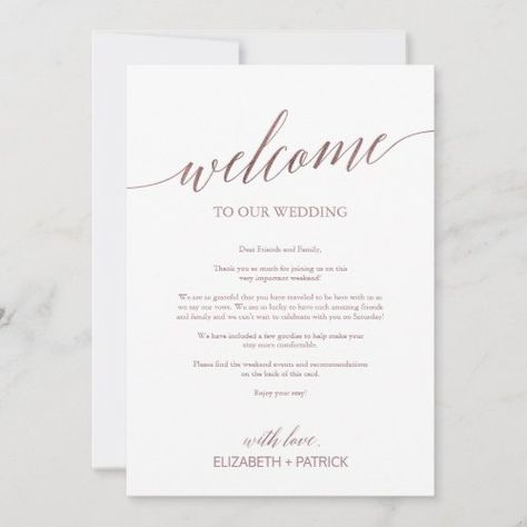 $2.46   Elegant Rose Gold Wedding Welcome Letter Itinerary #weddingwelcomeletteranditinerary #elegantdestinationweddingwelcomebags #fallweddinghotelguestnote #calligraphyhotelguestweekendagenda #simplescheduleofevents #dramatic #modernchic #romanticminimalistk023 #rosegoldfoil #blushpink