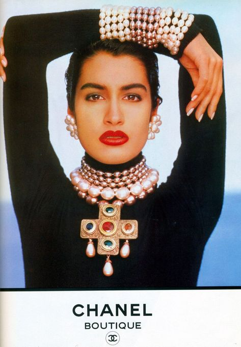 Yasmeen Ghauri photographed by Karl Lagerfeld for CHANEL Autumn/Winter 1990