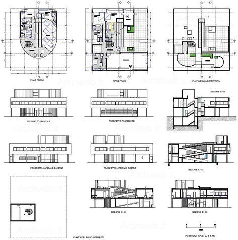 Villa Savoye Final Axonometric + Plans + Sections Architects Le - plan maison logiciel gratuit