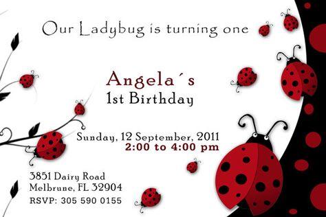 Printable Ladybug Baby Shower Birthday Invitations