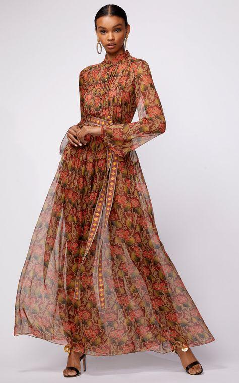 Button Front Printed Shirt Dress With Self Tie Belt by OSCAR DE LA RENTA for Preorder on Moda Operandi
