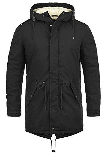 Solid Herren Winter Parka Kapuze Winter Jacke Kunstfell
