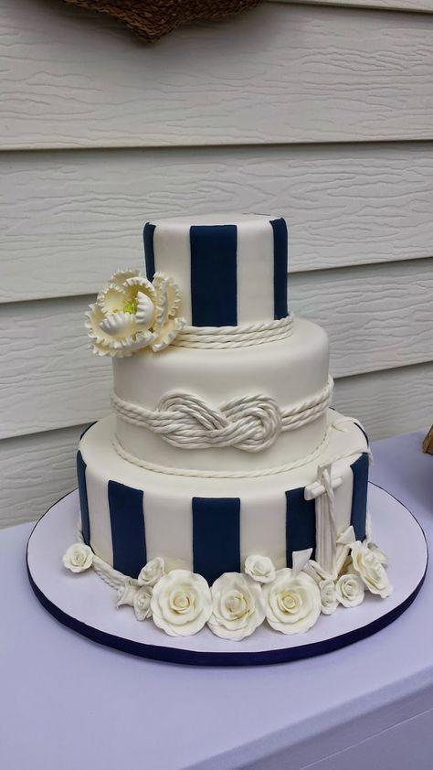 Nautical Wedding Cakes Gold fondant Fondant icing and Wedding cake