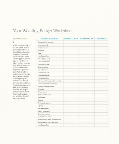 Wedding Budget Checklist Wedding budget worksheet, Wedding dj and