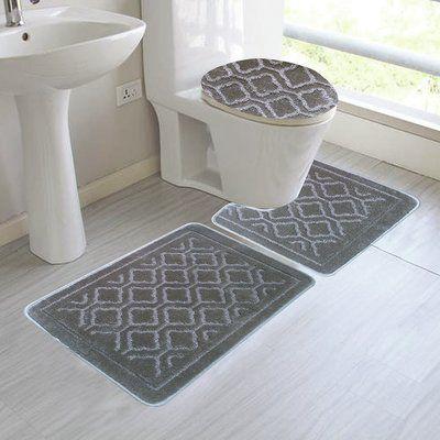Red Barrel Studio Chagnon 3 Piece Bathroom Rug Set Color Silver Bathroom Rug Sets Bathroom Mat Sets Bath Rugs Sets
