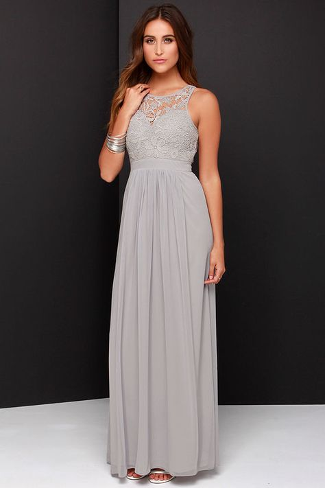 So Far Gown Grey Lace Maxi Dressat Lulus.com!