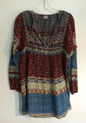 Vintage-India-Cotton-Gauze-Geeta-Blouse-Top-Shirt-Tunic-Hippie-Winter-Boho-Kate