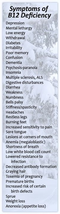 Pernicious anaemia, b12 deficiency hey, could the list be any longer! I wonder if eating is ice cream is a danger!