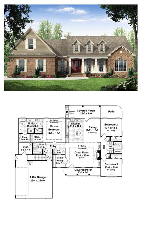 Country Style COOL House Plan ID: chp-34016 | Total Living Area: 2000 sq. ft., 3 bedrooms & 2.5 bathrooms. This inviting home has European Country styling with upscale features. The front and rear covered porches add plenty of usable outdoor living space, and include that much-requested outdoor kitchen. Expansive great room includes a beautiful trayed ceiling and features built-in cabinets and a gas fireplace. #countryhouse #houseplan