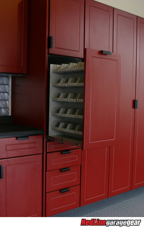 pictures of garage cabinets, floor coatings, and slatwall systems installed in residential garages | Garage Cabinets and storage solutions