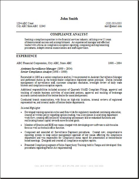Example Of Business Analyst Resumes -    wwwresumecareerinfo - compliance analyst resume
