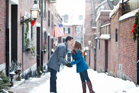 winter in boston engagement