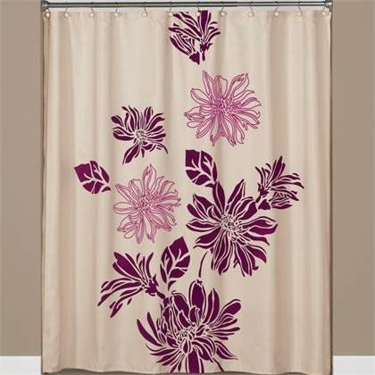 Flocked Floral Fabric Shower Curtain In Eggplant Magent Https Www Amazon Com Dp B00ga9yv0u Ref Cm Fabric Shower Curtains Floral Shower Curtains Curtains