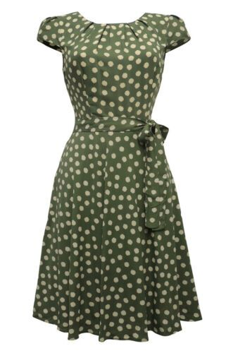 New Sage Green  Ditsy Floral WW2 1930/'s 1940/'s Vintage style Swing Tea Dress