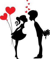 Silhouette of a couple in love stock vector art 12269955 - iStock