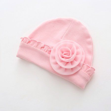 Baby Hats For Girls Newborn Infant Toddler Flower Hat Cotton Pink White Caps New