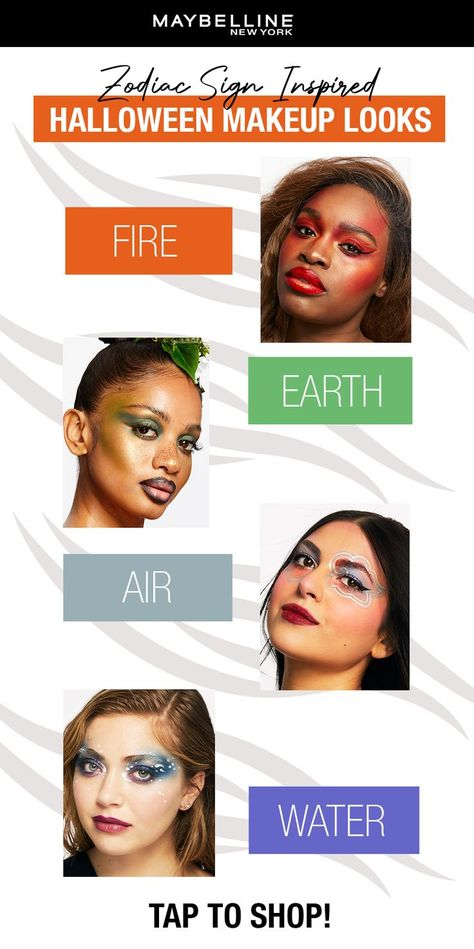 It's no secret that horoscopes are trendier than ever. So we brought to you four zodiac-inspired looks you can create this Halloween season to show your real SIGN! Which makeup look represents you best, fire, earth, air, or water? Tap for more Halloween inspiration, and let us know which looks you're creating! You can see all these looks in store on display now at Walmart!