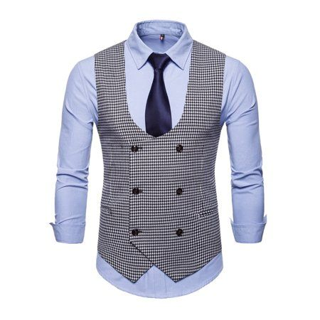 Mens Plaid Double Breasted Slim Fit Waistcoat Gilet Business Jacket Suit Vest