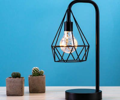 Wilson Fisher Black Wire Diamond Led Decorative Table Light Big Lots In 2021 Light Table Modern Table Lighting Table Decorations