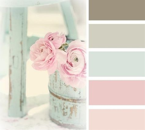 Shabby chic colour schemes are normally pastel shades contrasting with simple rustic colours such as mocha brown.  I really like this color pallete - Click image to find more Home Decor Pinterest pins