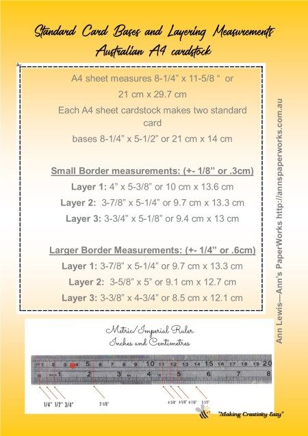 Standard Card Sizes And Measurement Guide Cardmaking Basics Inch And Centimetre Card Measurements Stand Standard Card Sizes Card Sizes Card Making Templates
