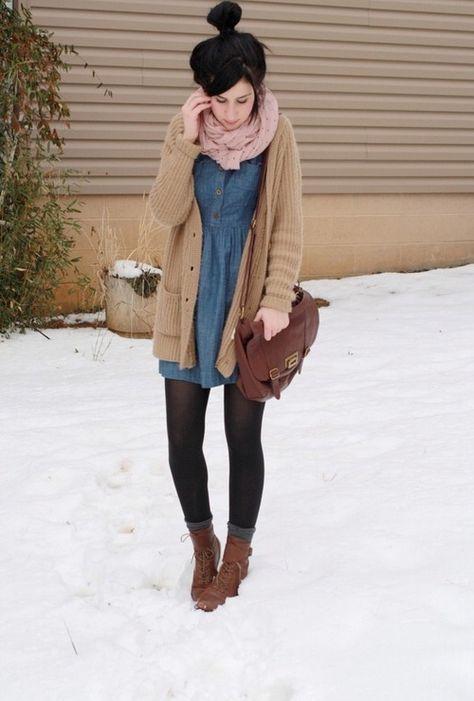 34 Warm and Cozy Outfit Combinations for Winter - Winter Outfits - New Ideas Outfits Casual, Winter Dress Outfits, Fall Winter Outfits, Cute Outfits, Dress Winter, Sweater Fashion, Leggings Fashion, Denim Fashion, Dress Fashion