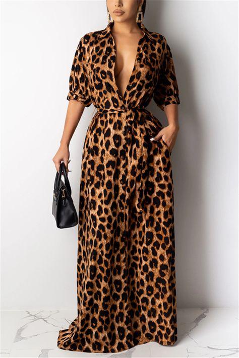 Fashion Sexy Turndown Collar Print Leopard Dress