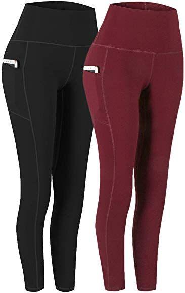 Fengbay 2 Pack High Waist Yoga Pants Pocket Yoga Pants Tummy Control Workout Running 4 Way Stretch Yoga Leggings