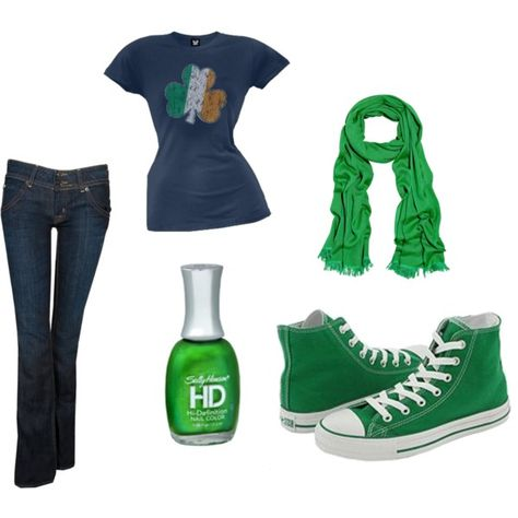 casual st. patrick's day, created by shotgunopera #fashion