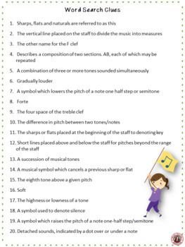 Music Word Search Of Commonly Used Terms Five Puzzles With