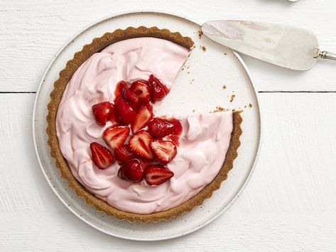 Recipe of the Day: Frozen Strawberry Lemonade Pie | Mix together a velvety filling, made with cream cheese and whipped cream and sweetened with strawberries and raspberries, then freeze in a homemade graham cracker crust. It's the sweetest way to send off summer.