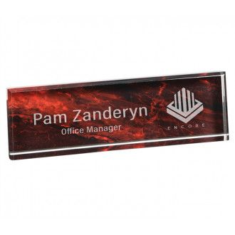 Our Red Marble Acrylic Name Plate Is Made Of 1 Thick Acrylic With A Red Marble Design Background We Will Laser Engr Name Plate Desk Name Plates Marble Design