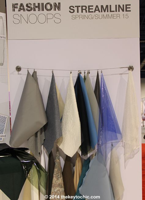 fabric samples for the spring summer 2015 Streamline fashion trend forecast as seen on The Key To Chic