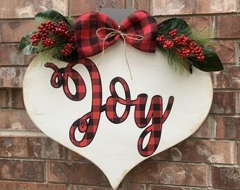 Door Hanger Decorative Tole Pattern New 2020 Christmas Christmas Door Hanger, Buffalo Plaid Door Hanger, Christmas Mason