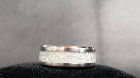 Silver Emerald Animal Remembrance Ring rose gold Neon green Opal 8x6MM Gold Cremation Memorial Ring Pet Ash To Keepsake Jewelry Silver