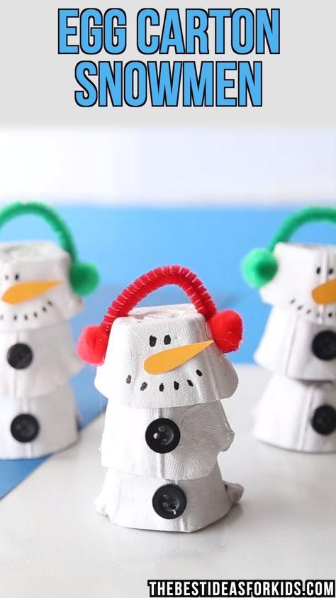 EGG CARTON SNOWMAN ⛄