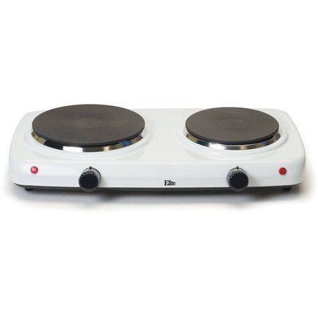 Elite Cuisine Electric Double Cast Burner Hot Plate Edb 302f White Walmart Com Double Burner Hot Plate Hot Plates