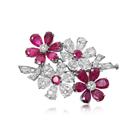 2c3b5f3e981 A Ruby and Diamond Brooch with Matching Ear Clips, by Van Cleef & Arpels,  circa late 1950's - Sold