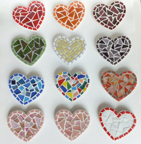 Blue Heart Magnet, mini mosaic kitchen magnet in denim blue, #Heart, #Kitchen, #Mini