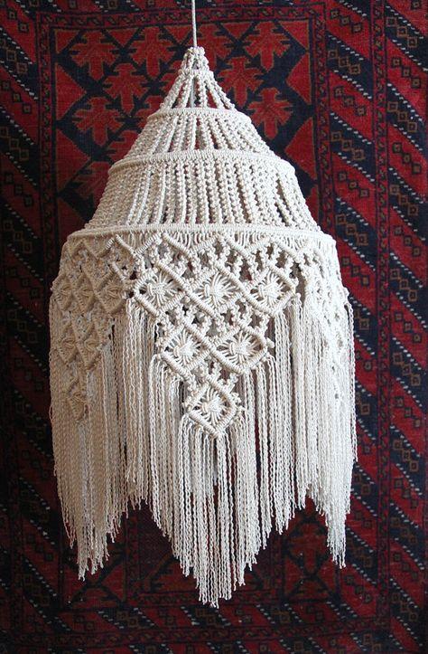 Fringed Hanging Macramé Lamp ~ Size: 30