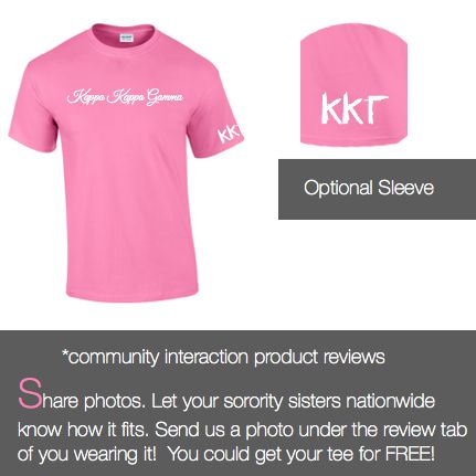 $14.98 Kappa Kappa Gamma T-shirt Style 3 features Greek words on front across chest (included in price) with optional Greek Letters on sleeve for an additional price.   Unisex Greek t-shirt M&D Sorority Gifts Exclusive Design Available in numerous colors Additional non-traditional colors available under custom t-shirts. Plus sizes available upon request for an additional price. Bulk Discounts Available when ordering 20 or more Greek T-shirts