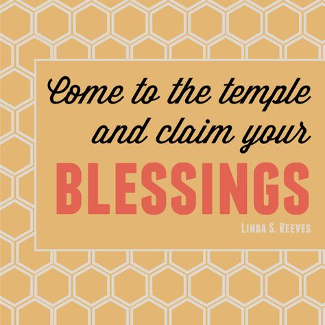 Relief Society Broadcast: Come to the temple and claim your blessings. -Linda S. Reeves