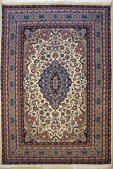 Rugstc 6 10 X 10 1 Pak Persian Area Rug With Silk Amp Wool Pile Kashan Design 100 Original Hand Knotted In Ivor In 2020 Persian Area Rugs Knotted Rugs Area Rugs