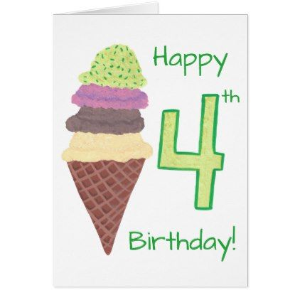 Happy 4th Birthday 4 Scoops Greeting Cards Zazzle Com Happy 4th Birthday Birthday Napkins 4th Birthday
