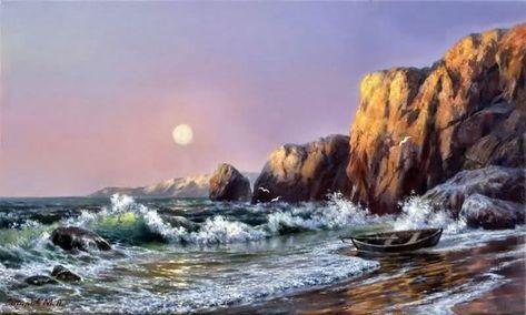 Yagliboya Deniz Manzara Calismalari Manzara Resim Manzara Resimleri