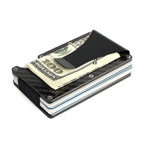 Slim Metal Credit Card Holder RFID Blocking Metal Money Clip Purse Wallet