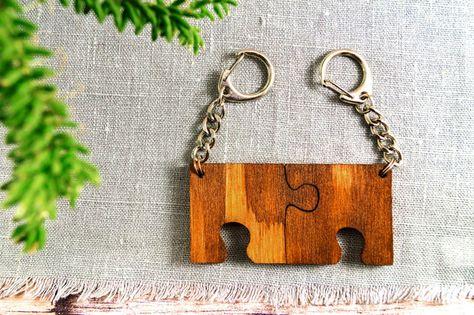 Schlüsselanhänger - Set 2 Anhänger/Schlüsselanhänger aus Holz / Puzzle - ein Designerstück von Planet_SuE bei DaWanda